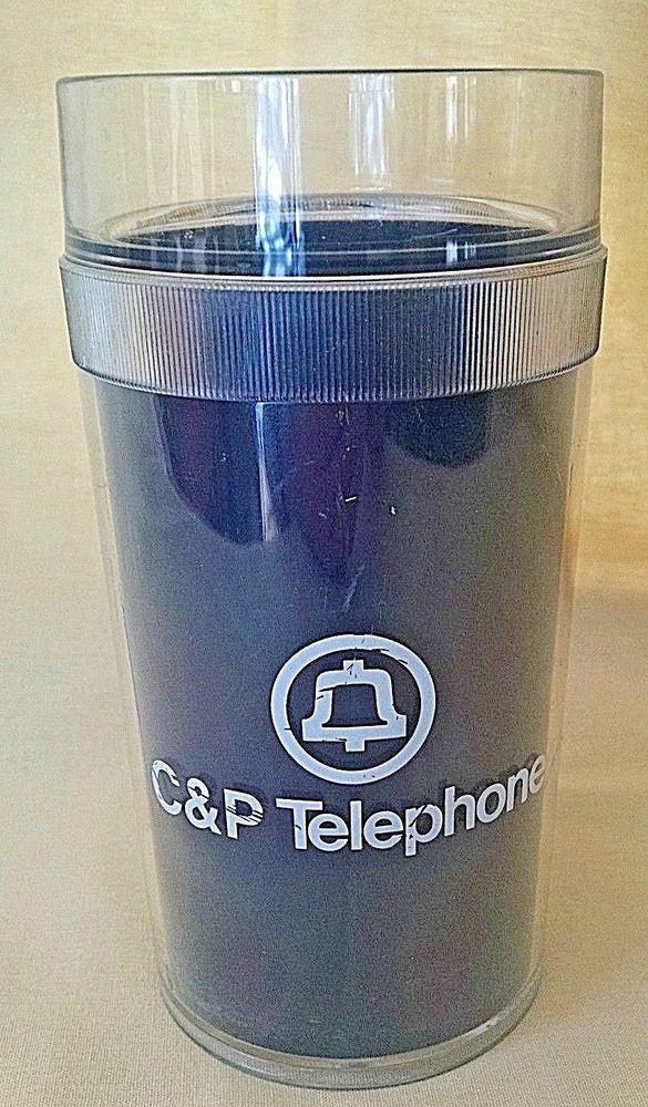 C&P TELEPHONE TUMBLER PLASTIC BELL LOGO PHONE COMPANY NAVY BLUE ST TROPEZ USA #StTropez