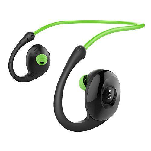 Nasin Running Headphones snails V4.0 CSR 8635 Bluetooth Headphones Magnetic Earbuds Stereo Bluetooth HeadsetsWater Resistant Sport Gym Running Workout Headset with Mic Battery work 17 hours (Green)
