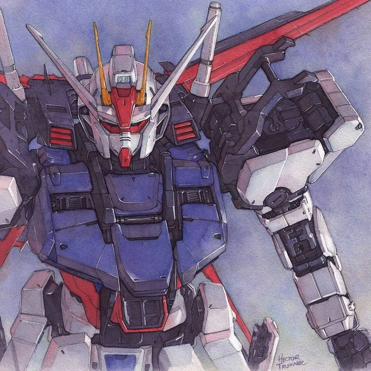 Gundam Aile Strike. Watercolor illustration #gundam #watercolor #illustration #instaart #mecha #strike #robot #manga #anime #japan #bandai #animeartshelp #picoftheday ##artsanity #modelkit #artfido #art #acuarela #ilustracion #dibujo #illust #gundamseed by hectortrunnec