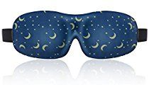 Lonfrote Star Moon Deep Molded Sleep Mask, lightweight & comfortable eye mask with ear plug and carry pouch, Super Soft Material (Blue)