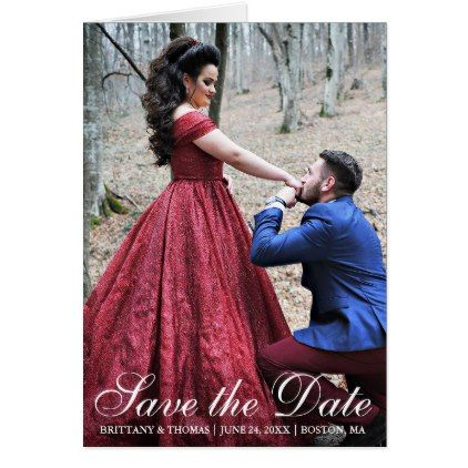 Elegant Modern Save The Date Photo Couple Fold Card - save the date gifts personalize diy cyo