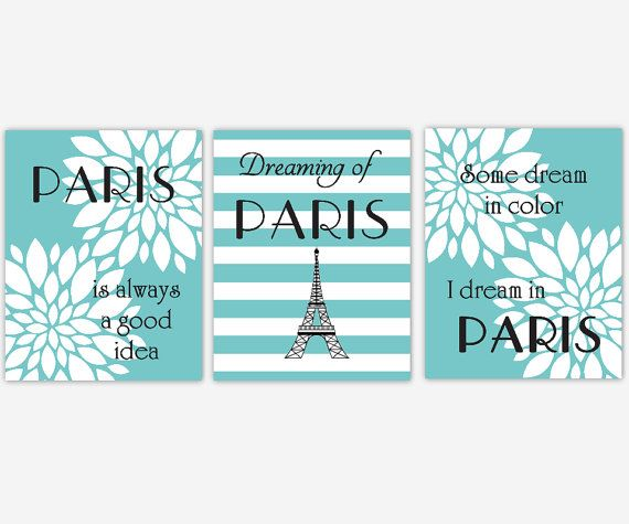 paris wall art teal turquoise white flower burst dahlia mums eifel tower girl bedroom wall decor tween toddler baby nursery decor print