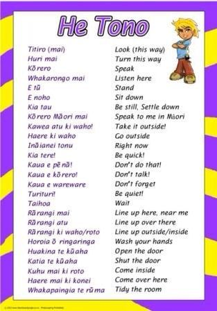 Commonly used phrases in Te Reo.