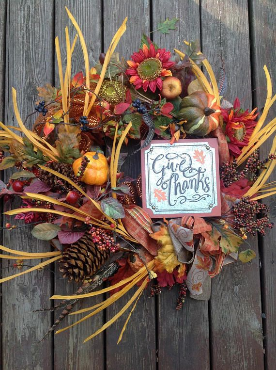 GIVE THANKS WISPY Luxury wreath with leaves and foliage