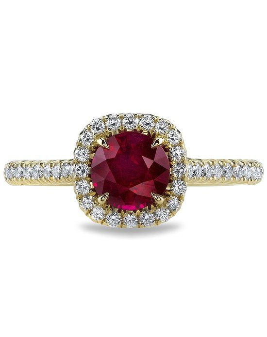 Ruby French-Set Diamond Cushion Halo Engagement Ring in 18kt Yellow Gold (0.34 CTW)