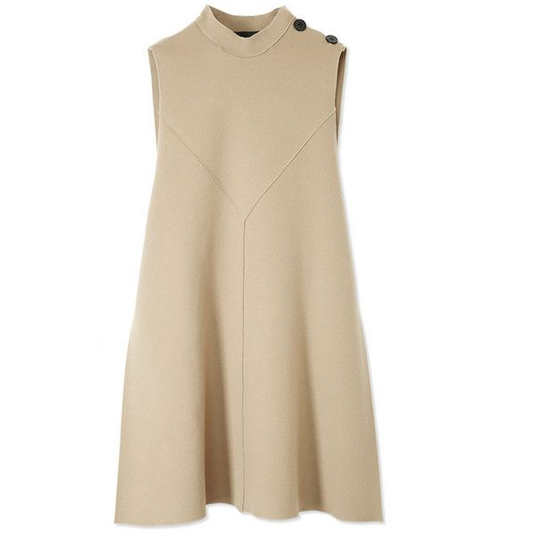 Derek Lam Mock Neck Flare Dress (€1.780) ❤ liked on Polyvore featuring dresses, vestidos, short dresses, brown, bias cut dress, short flared dresses, mini dress, mock neck dress and brown dress