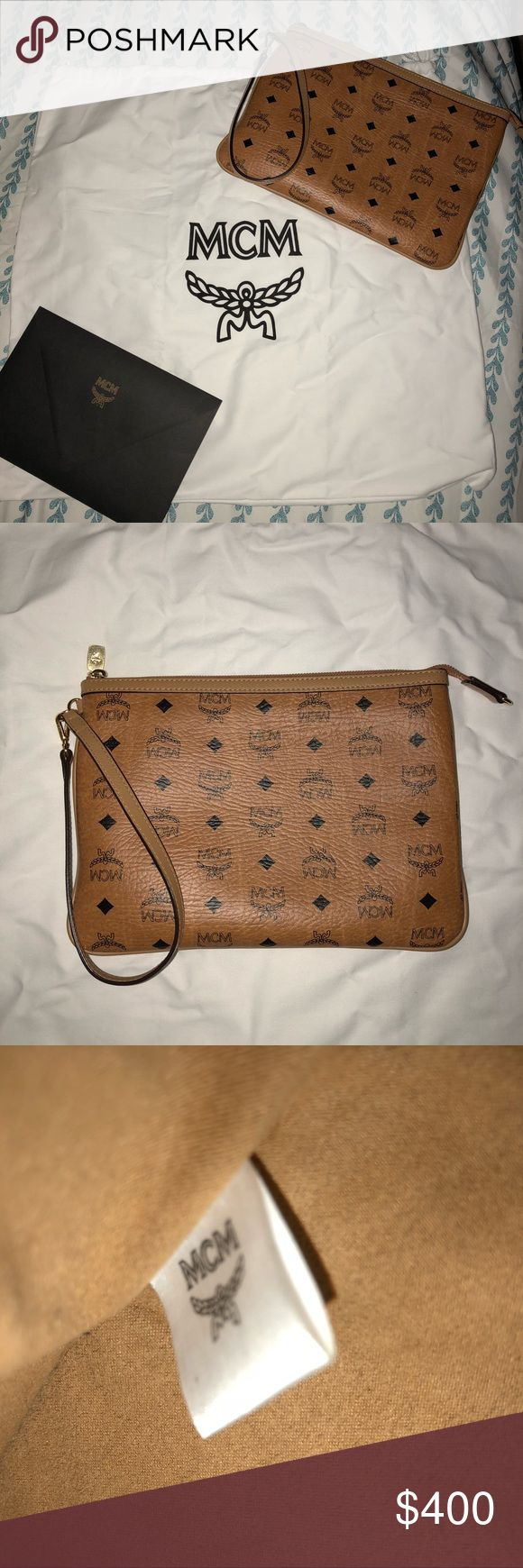 MCM Visetos Clutch MCM Clutch, in cognac. Has some wear around the edges but condition is 9/10. does not come with receipt or dustbag. Price firm due to Poshmark charges. MCM Bags Clutches & Wristlets