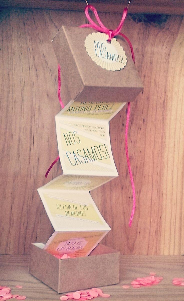 """Una invitación diferente: caja sorpresa """"Chinchín"""" #bodasoriginales #invitacionesdeboda"""