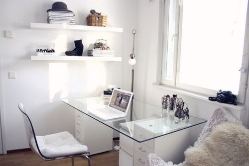 IKEA SPOTTED // TOBIAS chair in clear/chrome plated, RITVA chair cushion in white, HELMER drawer unit in white, JONAS drawer unit on casters (no longer available in white), LACK wall shelves in white