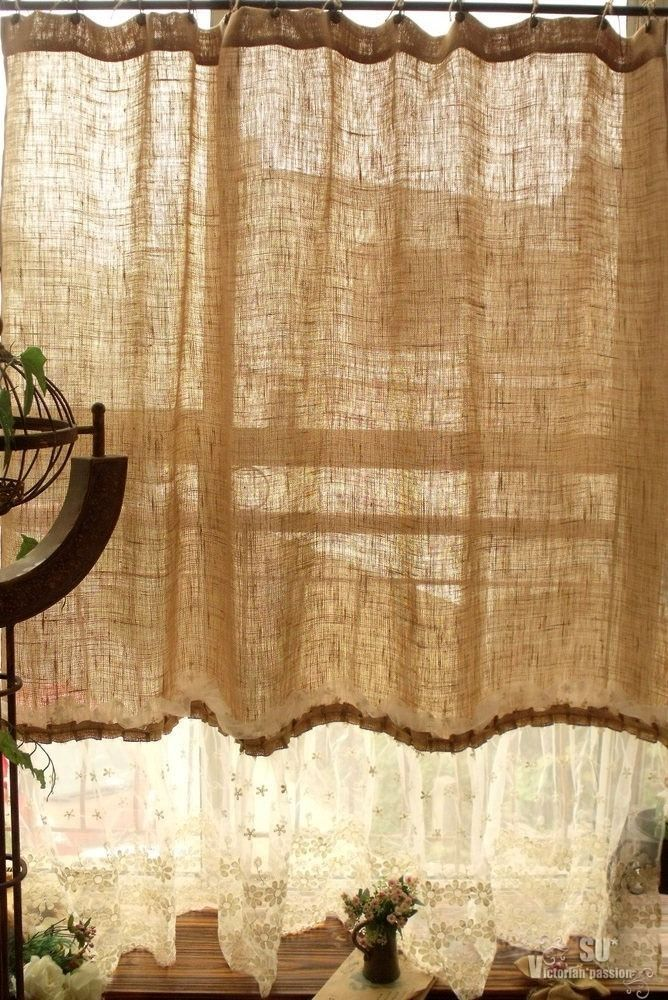 72 SHABBY Rustic Chic Burlap SHOWER Curtain Lace Ruffles