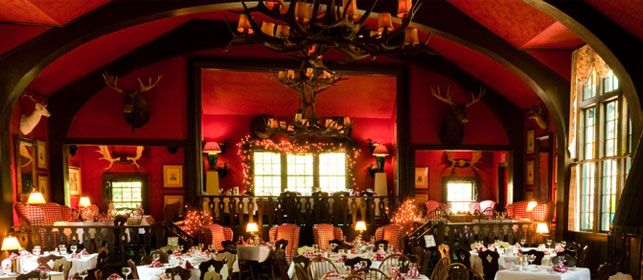 Inside of Woods restaurant - a Grand Hotel restaurant. Take a short horse-drawn carriage into the interior of Mackinac Island to one of the most romantic places for dinner.