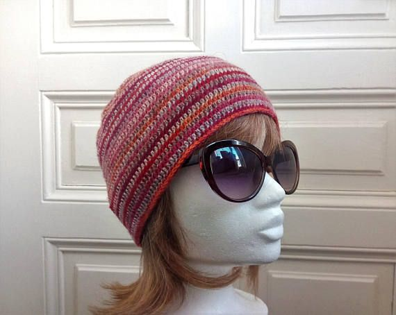 Boho Hippie Beanie Hat  Red Orange Gray Women's Ski Hat