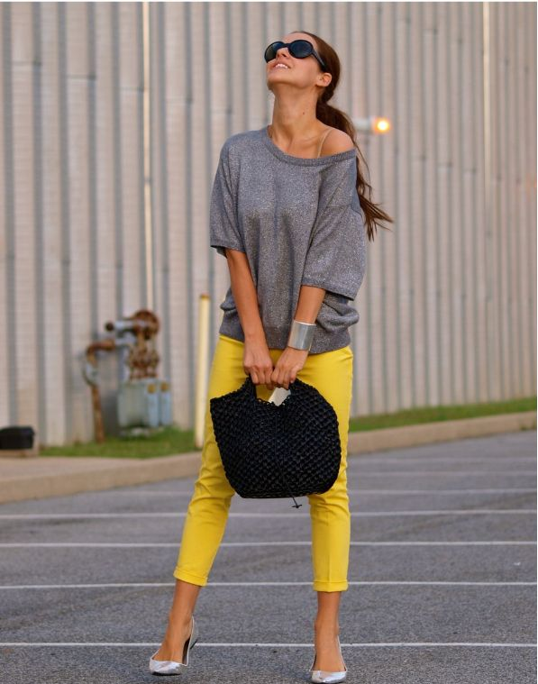 Style a casual knit with colored skinnies.