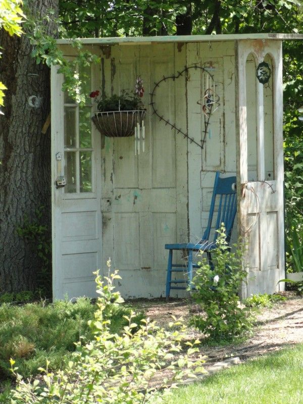 """perhaps a secret garden needs it's own garden shed or, Doors-Cottage. Garden shed made of old doors - doors can be sourced from the tip's """"recycled items""""/""""trash and treasure"""" section."""