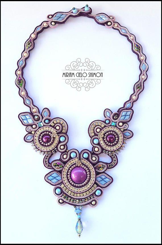 Feather Blue Aubergine and Silver soutache necklace