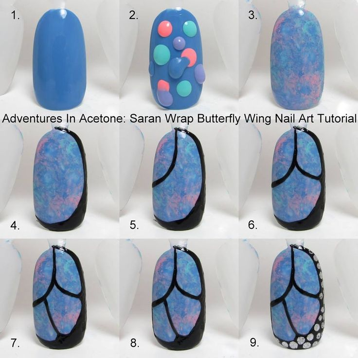 Saran wrap and butterfly wing manicure tutorial by Adventures in Acetone.Don't necessarily love the wing design but the marbled effect underneath is awesome!