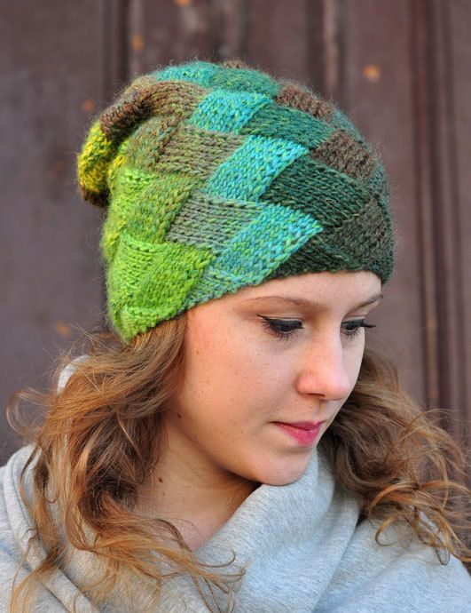 CUBE hat green brown and cirtone  hand made  by dagmarabuczek