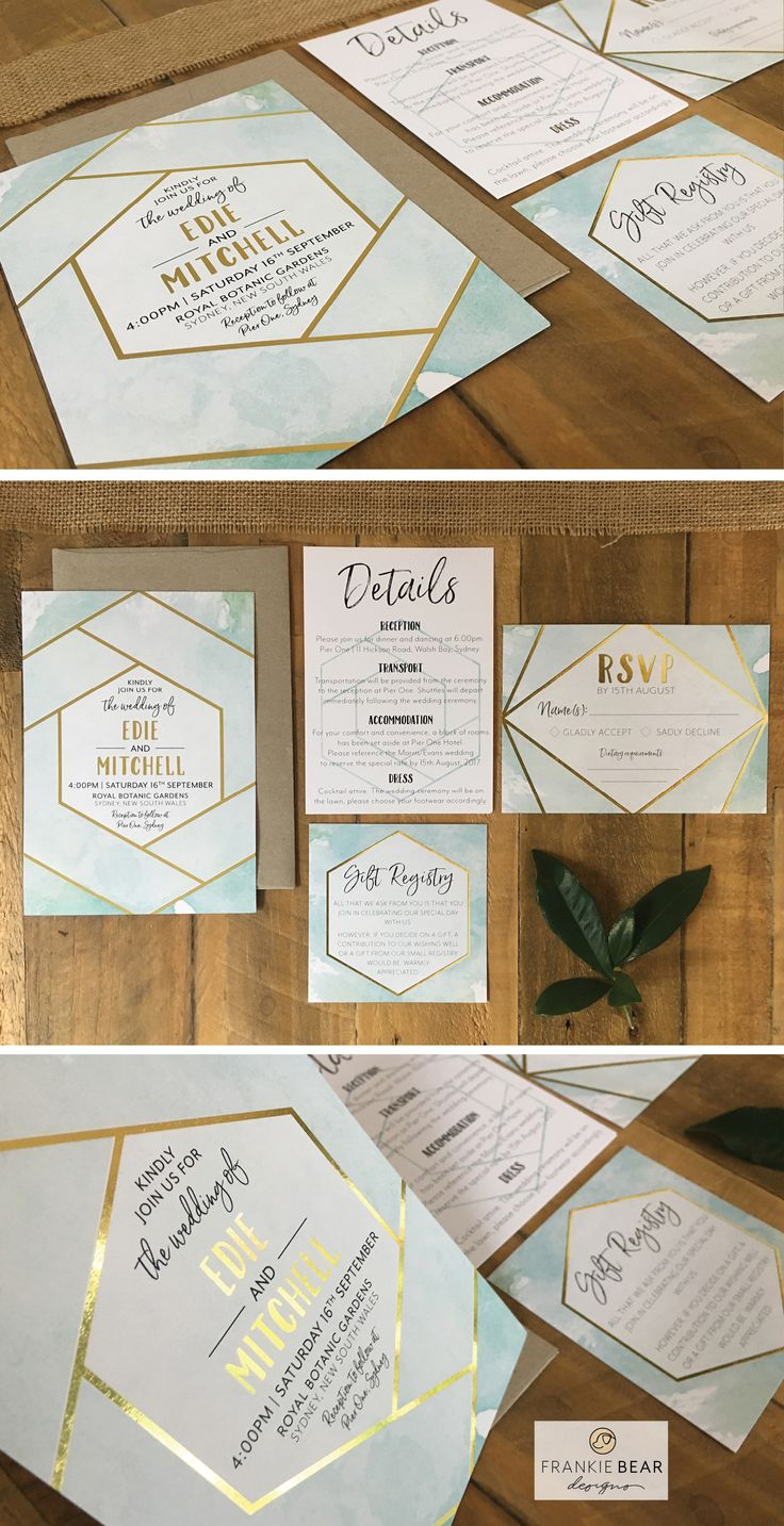 GEOMETRIC WATERCOLOUR   WATERCOLOR WEDDING INVITATION WITH GOLD FOIL by Frankie Bear Designs. This sleek, modern, geometric blue watercolour wedding invitation will coordinate perfectly with your geometric wedding theme!