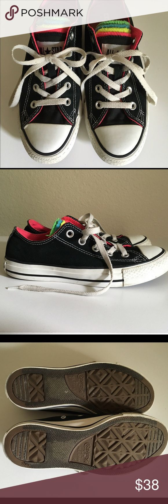 Black Neon Converse Black Neon Converse come in a black shell with neon tongue in pink, yellow, green and blue. Size: 6 Women's 4 Mens. In excellent used condition. Converse Shoes Athletic Shoes