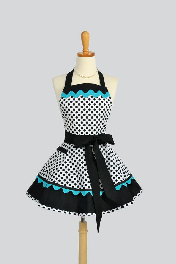 Ruffled Retro Apron / Handmade Flirty Full Womens Apron in White and Black Dots from Michael Miller Trimmed in Teal Blue Ric Rac via Etsy