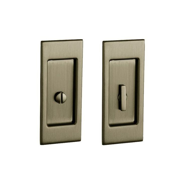 Baldwin PD006.PRIV Santa Monica Privacy Pocket Door Set with Door Pull from the Satin Brass and Black Pocket Door Lock Privacy