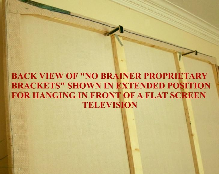 Hide Flat Screen TV with a framed picture that has strategically placed  brackets on the back