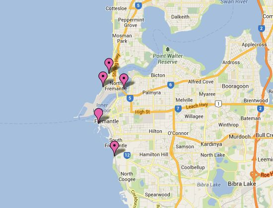 Fremantle Beaches Map Interactive map of the Fremantle Beaches!