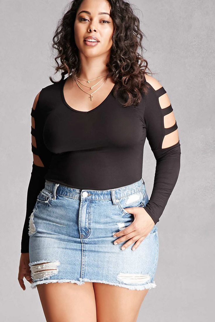 Forever 21+ - A stretch knit top featuring long sleeves with a ladder-cutout caged design, V-neckline, and a form-fitting silhouette. This is an independent brand and not a Forever 21 branded item.