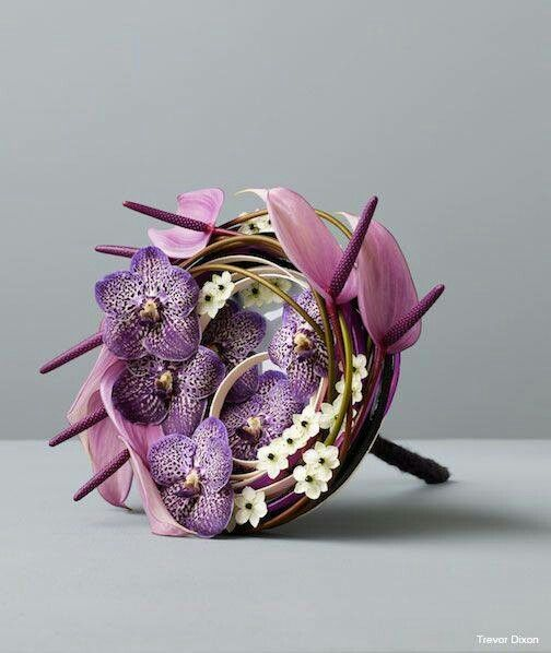 Contemporary bouquet in lavender and white
