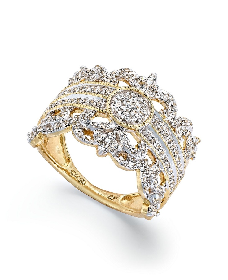 Diamond Vintage Crown Ring in 14k Gold (3/4 ct. t.w