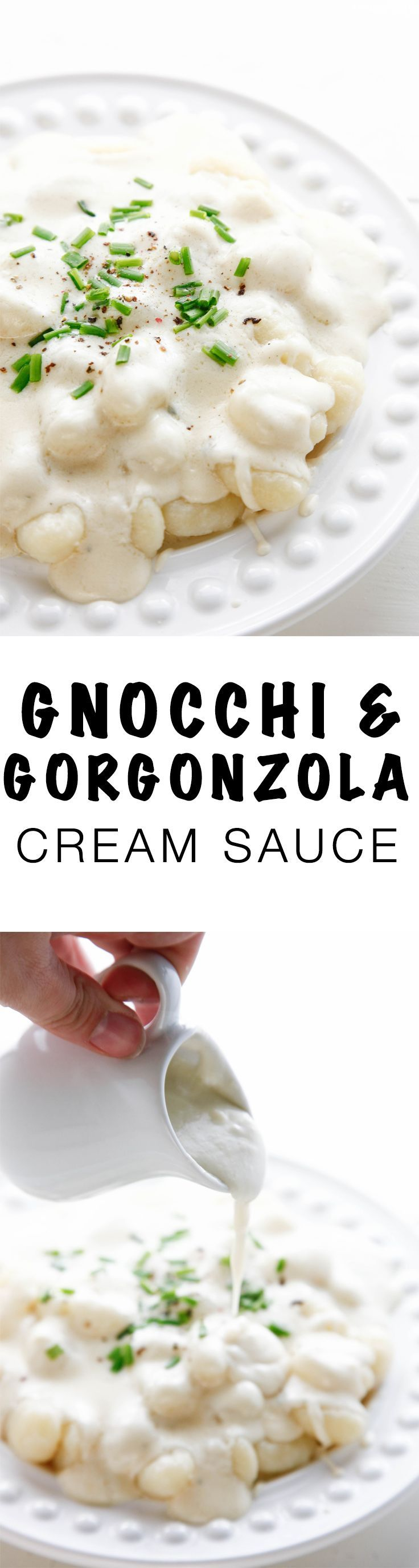 Gnocchi with Gorgonzola Cream Sauce is the perfect pasta dinner. Enjoy the savory creamy dish on date night! via @thebrooklyncook