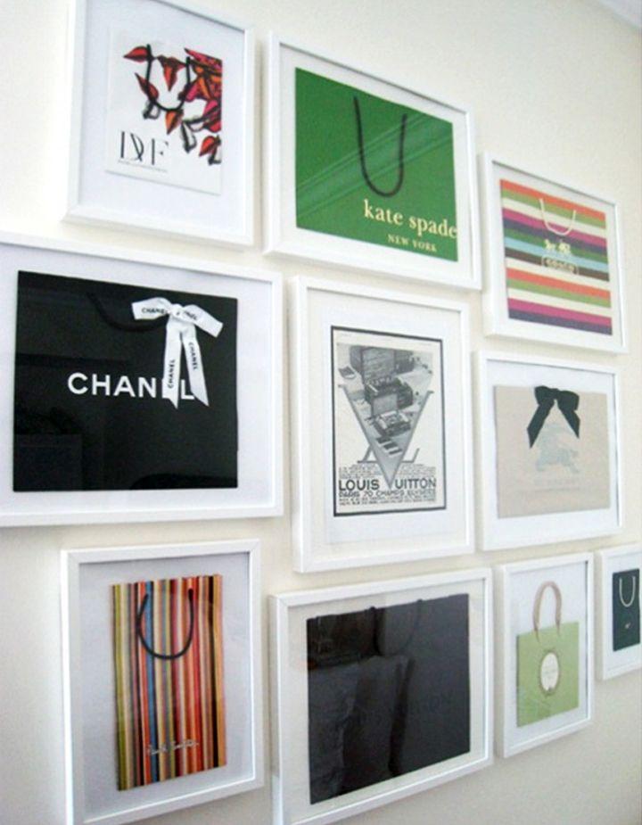 framed shopping bags: Wall Art, Frames Shops Bags, Cute Ideas, Fun Ideas, Design Bags, Cool Ideas, Great Ideas, Walks In Closet, Girls Rooms