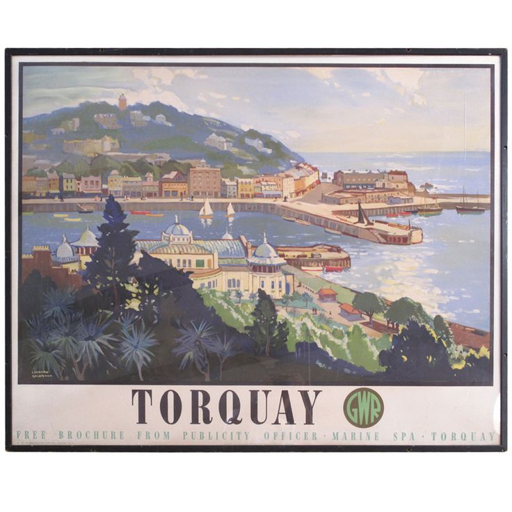 Great Western Railways, Travel Poster, circa 1947, Torquay, England,   From a unique collection of antique and modern posters at https://www.1stdibs.com/furniture/wall-decorations/posters/