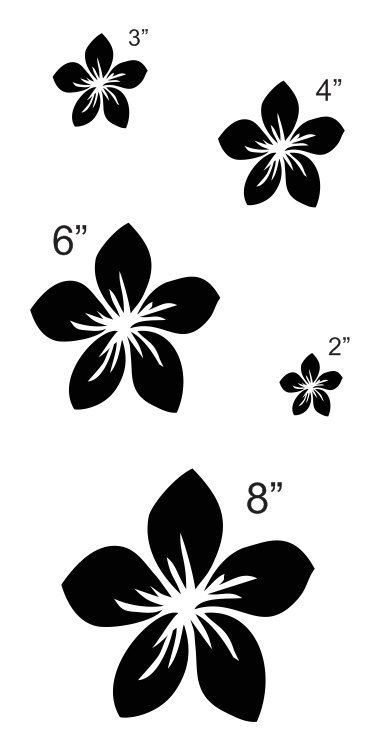 """Plumeria Flower STENCIL sheet with 5 total** Sizes 2"""" 3"""" 4"""" 6"""" 8"""" for Painting Signs, Fabric, Canvas, Airbrush, Crafts, Wall Decor"""