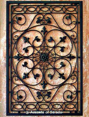 Tuscan Wall Decor - Iron Wall Grille ~   I would need 2 to use on its side as a headboard for the twin beds ~