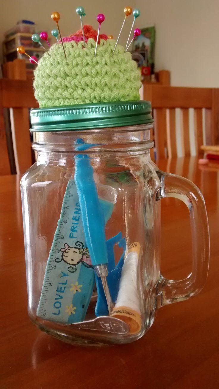 new pincushion from mason jar/mug