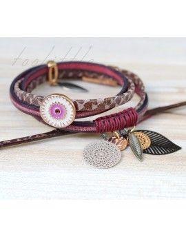 Βραχιόλι Brown Snake Style & Bordeaux Leather Eye