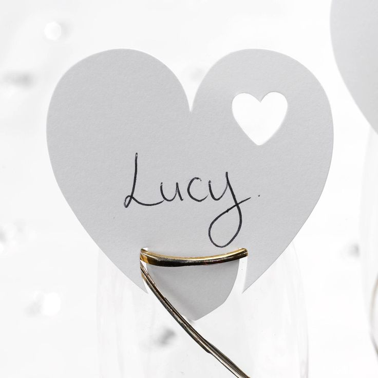 Contemporary Heart - Place Card For Glass - Weddings
