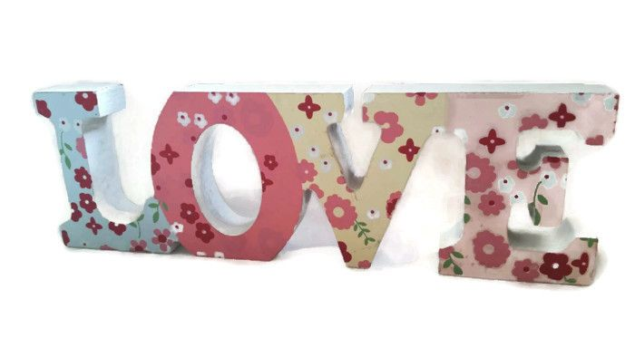 Shabby chic floral handpainted love - Made by a Spoonie