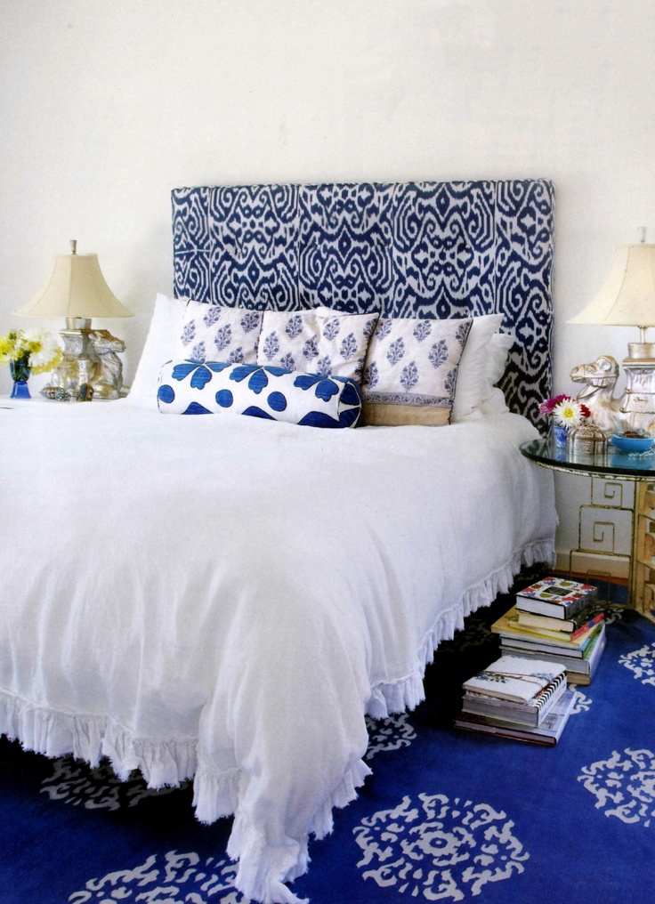 Blue Luce Ikat Fabric upholstered headboard Casper