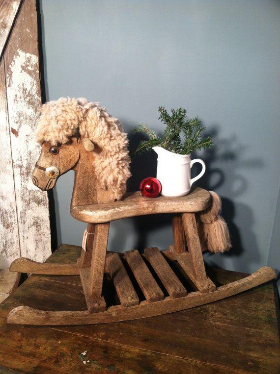 Vintage Wood Rocking Horse by ZassysTreasures on Etsy, $35.00
