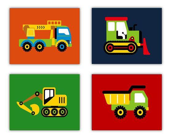 "Construction Nursery Wall Art 3 Piece for Toddler Nursery Room Art  8""x10"" prints, Construction Zone"