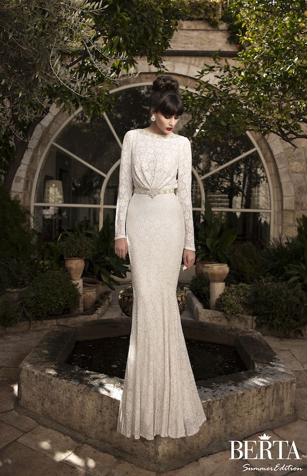 chic lace wedding dress with sleeves by @BERTA