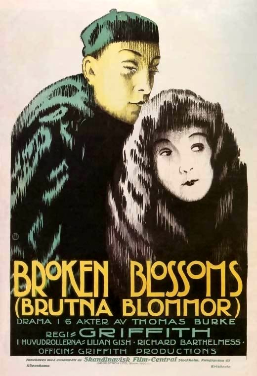 Broken Blossoms or The Yellow Man and the Girl is a 1919 American silent drama film directed by D.W. Griffith. It was distributed by United Artists and premiered on May 13, 1919. It stars Lillian Gish, Richard Barthelmess and Donald Crisp, and tells the story of young girl, Lucy Burrows, who is abused by her alcoholic prizefighting father, Battling Burrows, and meets Cheng Huan, a kind-hearted Chinese man who falls in love with her. It was the first film released by United Artists.