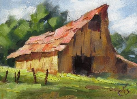 BARN IMPRESSIONIST RURAL LANDSCAPE ORIGINAL OIL PAINTING by Tom Brown., painting by artist Tom Brown