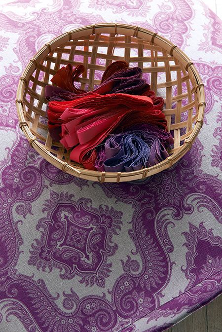 Dyed fabric strips, Manuel Canovas. Amazing colours.