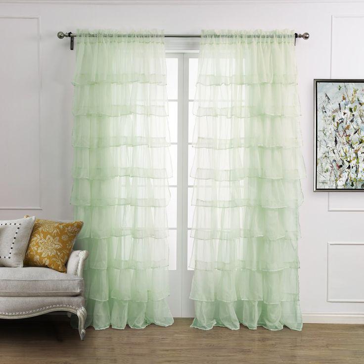 Elegant Minimalist Light Green Solid Plicate Sheer Curtain   #curtains #decor #homedecor #homeinterior #green