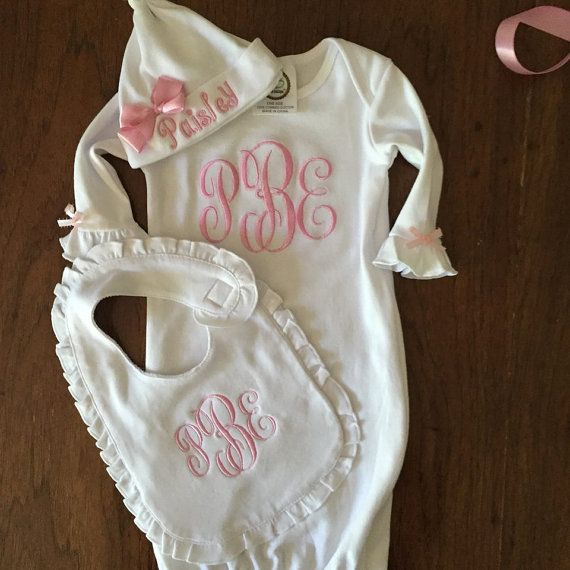 Best 25 baby girl personalized ideas on pinterest h boy names custom order for brittany personalized baby girls gown hat negle Choice Image