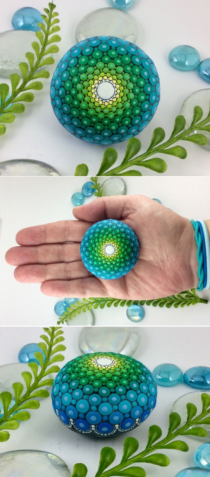 """Mandala Stone (Mini) by Kimberly Vallee: Hand painted with acrylic and protected with a matt finish, this cute little """"Mini"""" Dot Painted Mandala Stone is between 1.5"""" and 2"""" wide. It is one-of-a-kind."""