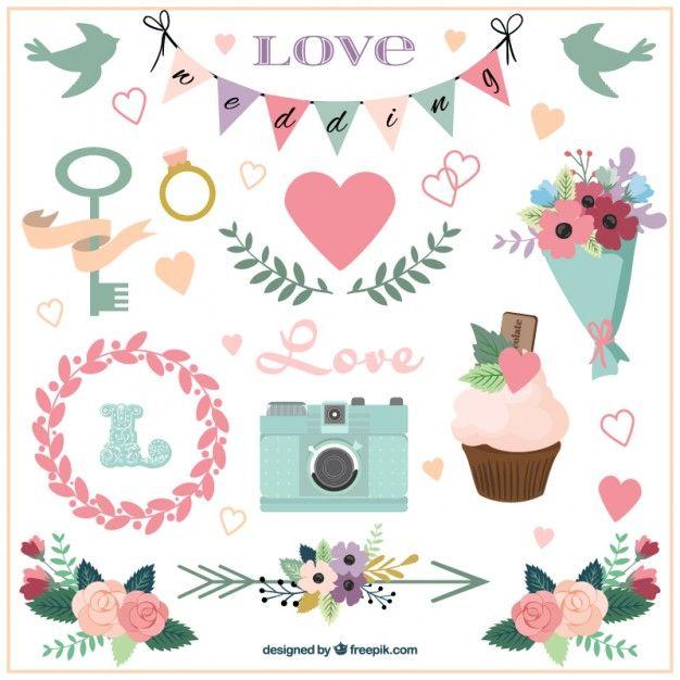 Accesorios de boda y ornamentos dibujados a mano Vector Gratis
